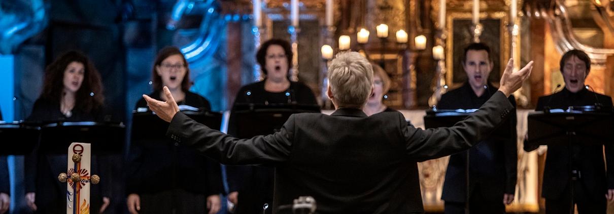 Vocalforum singt Konzert, Franz Herzog mittig von hinten zu sehen